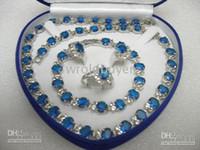 Bracelet & Necklace sapphire bracelet - set sapphire necklace bracelet earring ring jewelry