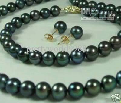 Best Buy Pearl Jewelry set 8-9mm Black Akoya Pearls Necklace bracelet earring 14k