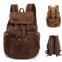 Wholesale Details about Men Women s Vintage Canvas Leather Backpack Rucksack Laptop Satchel School Bag