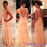 Wholesale 2014 Sexy New Peach Sleeveless Chiffon Floor Length Prom Dresses Tulle Lace Applique Sheer Back Evening Gowns BO3396