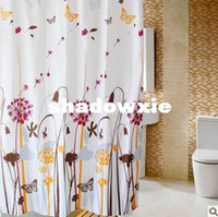 Wholesale Dandelion thick waterproof mildew shower curtain polyester fabric metal hooks
