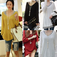 Cheap New Fashion Women Sexy V-Neck Oversized Loose Sweater Batwing Long Sleeve Knitted Top Jumper 5 Colors Drop Shipping 3792