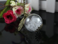 Wholesale 10Pcs MM Natural White Feather Necklace Feather Jewelry Glass Orb Necklace make A Wish Necklace Glass Globe Ball Necklace GGJ GJN
