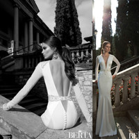 Cheap 2014 Hot Sale Berta Bridal Gowns Applique Beads Sexy Deep V Neck Backless Sheer Long Sleeves Mermaid Floor Length Wedding Dresses