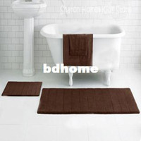 Wholesale Stocked eco friendly non slip memory foam with microfiber surface bath mat in bathroom chocolate mmx600mm