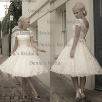 Wholesale 2014 Elegant White Beaded Sash Bow A Line Wedding Dresses Feathers Bateau Sheer Neckline Short Sleeve Mini Bridal Gown Dhyz
