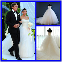 Cheap 2014 New bridal gown Actual Images Hot sale Fashion strapless A Line Ball Gown Wedding dresses Bridal Gow Inspired by Kim Kardashian 0123B