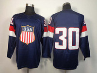 Wholesale 2014 Olympics Team USA Jerseys Ice Hockey Jerseys Men s Ryan Miller Blue Hockey Jerseys Mix Order