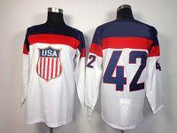 Cheap 2014 Olympics Team USA Jerseys Ice Hockey Jerseys Men`s David Backes #42 Blue Hockey Jerseys Mix Order