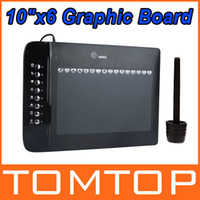 Wholesale 10 quot x6 quot USB Drawing Graphic Tablet Board For PC Laptop Computer with Cordless Digital Pen Levels Hot Keys C1731