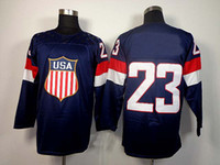 Cheap 2014 Olympics Team USA Jerseys Ice Hockey Jerseys Men`s Dustin Brown 23# Blue Hockey Jerseys Mix Order