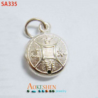 Traditional Charm copper coins - New Sterling Silver Amulet Charms Copper Coin Silver Sterling Dangle Pendant More Patterns for Necklace Chain Jewelry Craft Making SA335