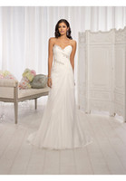 Wholesale New Style Simple Brand Wedding Dresses Sweetheart Beads Appliques Ruched Chiffon Sheath Wedding Bridal Gown Custom