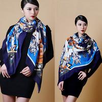Wholesale Newest Women s Retro pattern Cotton Scarf Wrap Ladies Shawl Girls Large Square Scarves Fashion Accessory