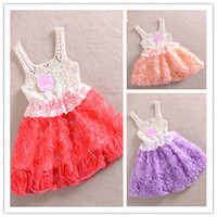 Wholesale Summer Hollow Out Lace Stereo Petals Flowers Chiffon Girls Dresses Jumper Dress Princess Children Clothing B2691