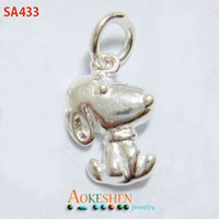 amulet pendants - High end Sterling Silver Dangle Pendant Snoopy Shape Amulet Charms for Necklace Chain Jewelry Craft Making SA433