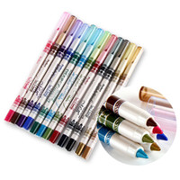 Wholesale 24Pcs Colors Waterproof Glitter Lip Liner Eye Shadow Eyeliner Pencil Pen Cosmetic Makeup Set Brand New