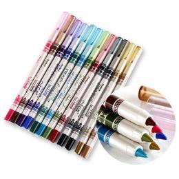 Wholesale 24Pcs Colors Waterproof Glitter Lip Liner Eye Shadow Eyeliner Pencil Pen Cosmetic Makeup Set Brand New