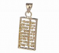 Wholesale Sterling Silver Amulet Charms High end Gold Abacus Shape Dangle Pendant for Necklace Chain Jewelry Craft Making SA597