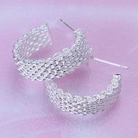 Wholesale stunning silver mesh hoop earrings Christmas gift Sterling Silver Fashion Earrings