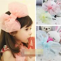 Wholesale Korean Kids Hair Accessories Princess Girls Lace Gauze Bowkno Pearl Beaded Hair Band Sticks Girl Children Yarn Tulle Beads Headband D1861