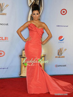 Wholesale New Arrive vestidos Coral LMA Awards Eva Longoria Flamingo Silk Faille Draped Mermaid Celebrity Evening Gowns