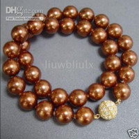 Wholesale stunning natural mm SW chocolate pearl necklace inches