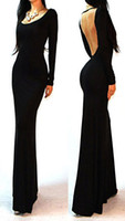 Street Style Cotton+polyester Square 2014 Sexy Black Minimalist Backless Open Back Dinner Long sleeve evening Jersey Rayon Long Maxi Dress