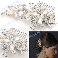 Hair Combs Silk Flower  New Coming High Quality Floral Pearl Crystal Comb Crown Tiara Bridal Headpiece Wedding Hair Accessories Free Shipping Ready to Ship