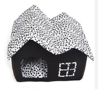 Wholesale Hot Sale pc Pet Dog bed Cow Pattern Double room double top Luxury Pet dog House kennel Cat litter