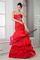 Cheap 2014 Customized Charming A-line Sweetheart Floor-Length Beading Red Taffeta Prom Dress Pin Up Evening Gown vestidos de fiesta
