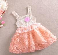 Cheap Baby girl kids crochet dress lace dress crocheted flower floral tutu dress rose flower hollow strap dress pettiskirt fancy dress costumes 5