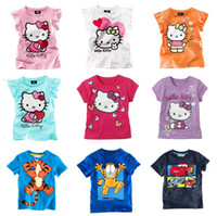 Unisex Summer Standard new 2014 summer children t shirts clothes wholesale short sleeve t shirt KT girls tops 5pcs lot
