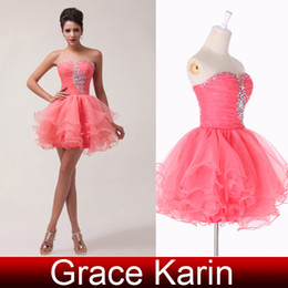 Wholesale Grace Karin Mini Short Charming Ball Gown Sweetheat Beaded Voile Sexy Cocktail Homecoming Dresses CL6077