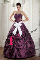 Cheap 2014 Customized Charming Ball Gown Strapless Floor-Length Purple Taffeta With White Sash Prom Dress Pin Up Evening Gown vestidos de fiesta