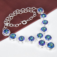 Wholesale 925 sterling silver women fashionable mystic topaz high grade necklace N0480