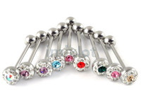 Tongue Rings Alloy Chirstmas Stainless Steel With Crystal Tongue Ring Barbell Piercing 16g Imixlot Body Jewelry 36pcs [BB32(12)*3]
