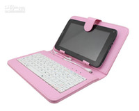 Wholesale Pink Universal Leather Case Flip Cover for inch Tablet PC Stand Folio Folding Leather keybord Case