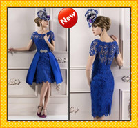 Wholesale 2014 Charming Royal Blue Sheer Lace Straps Short Sleeves Knee length Mother of the bride groom Dresses Cheap Evening Formal Dress Gown