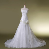 Wholesale 1 Beaded Strapless with Applique Long Bridal Dress Pleated Organza Flowers A line Court Train In Stock Wedding Dresses Gowns