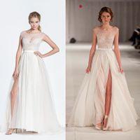 Cheap 2014 Hot Sheer Celebrity Dresses Scoop Neck Cap Sleeves Lace Applique A-Line Floor Length Side Slit Red Carpet Gowns Evening Dresses