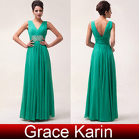New Arrival Deep V- neck Ruched Chiffon Beading Sequins Prom ...