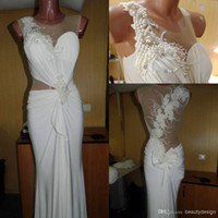 2014 white chiffon mermaid formal evening dresses luxurious ...
