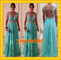 Wholesale 2016 Fashion Rhinestones Turquoise Prom Dresses Cap Sleeves Backless With Lace Chiffon Sequins Crystals Long Cheap Evening Formal Dress