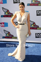 Reference Images V-Neck Chiffon RC-117 Elegant V-neck Cap Sleeve Mermaid Kim Kardashian Dresses Red Carpet Celebrity Dresses Custom Made