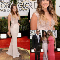 Wholesale Sosie Bacon st Golden Globe Evening Celebrity Red Carpet Dresses Mermaid high neck Chiffon Appliques Lace Prom Gowns BO4217