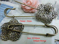 Wholesale NEW vintage style flower filigree charms safety pin brooch findings fit diy brooch mm