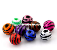 acrylic zebra beads - Mixed Zebra Stripe Round Acrylic Spacer Beads mm quot Dia B21479