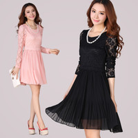 Cheap XL- XXXXL New Women Plus Size Black Pink Long Sleeve Elegant Peplum Flower Lace Spring Autumn Pleat Chiffon Knee Length Princess Dress 2120