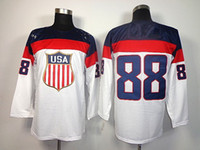 Cheap 2014 Sochi Olympic Team USA #88 Patrick Kane White American Premier Hockey Jerseys Ice Winter Man Jersey Stitched Drop Shipping